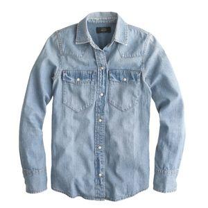 J Crew Western Vintage Blue Denim L/S Shirt
